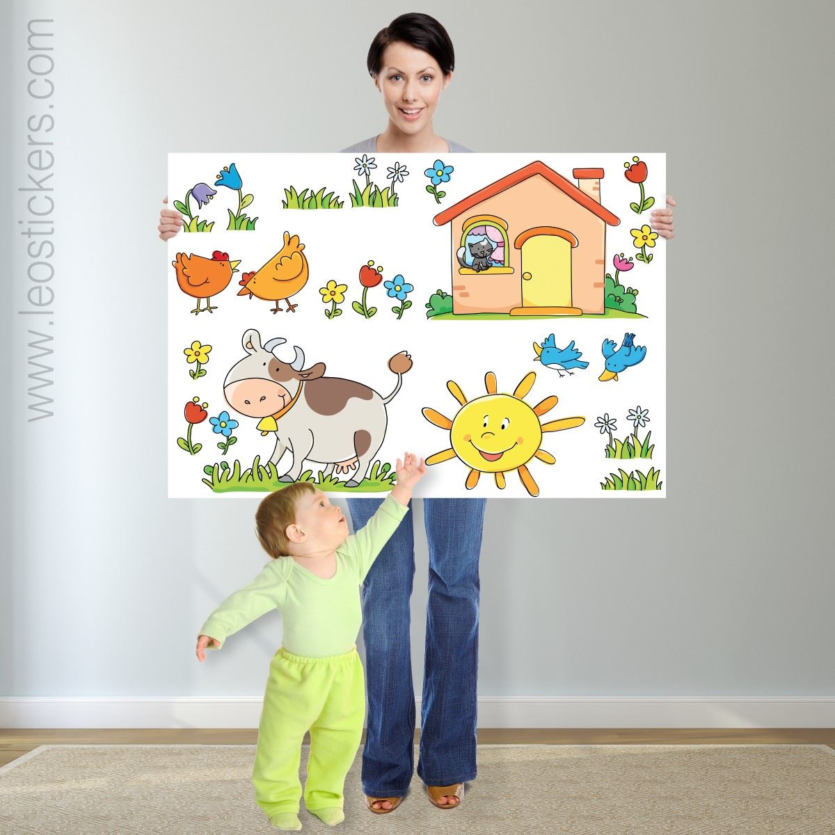 adesivo murale bambino stickers LeoKit start In Campagna